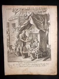 Butley 1762 Antique Religious Print. Esau Returned from hunting